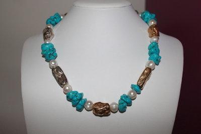 Collier perle, aulite e argento