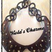 Collana/colletto plexiglas borchie Swarovski