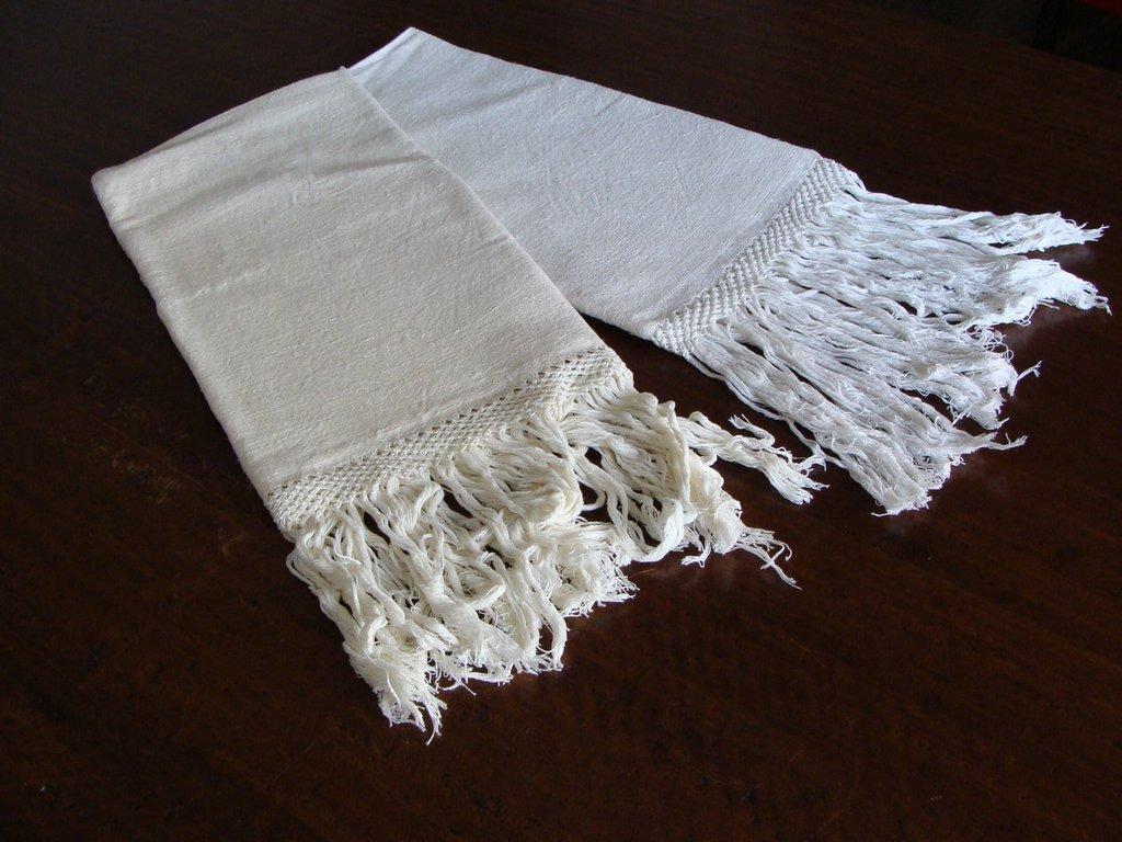 Coppia di asciugamani in tela antica