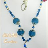 COLLANA BLU CON PERLE BLU ALL'UNCINETTO