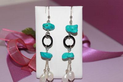 orecchini pendenti in argento con aulite, onice e perle