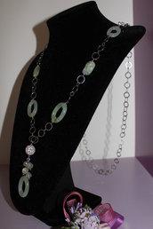 chanel catena argento, quarzo verde e zirconi