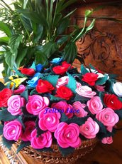 Penne decorate con rose in pannolenci