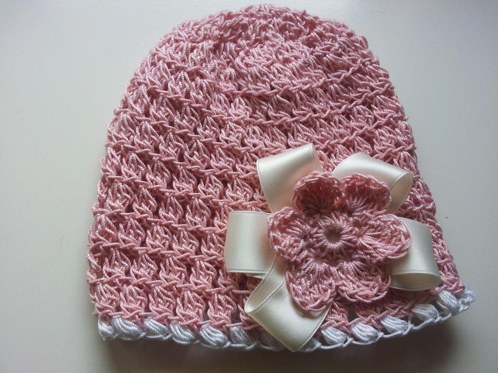 Cappello Rosa in Cottone con Fiocco di Raso