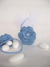 Bomboniera borsetta fiore battesimo uncinetto (art.35_azzurro)