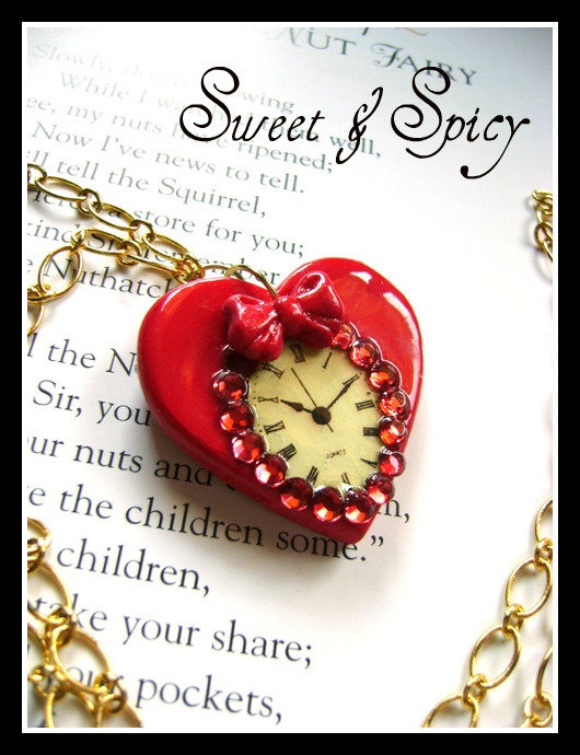 "ALICE IN WONDERLAND-""I'M LATE"" HEART NECKLACE-COLLANA CON OROLOGIO"