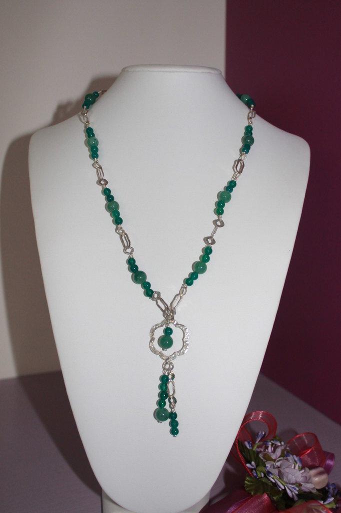 Collana argento e agata verde