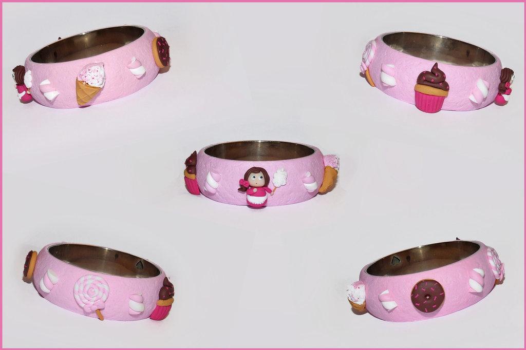 Bracciale - Bangle dolcetti e caramelle in fimo /cernit fatto a mano