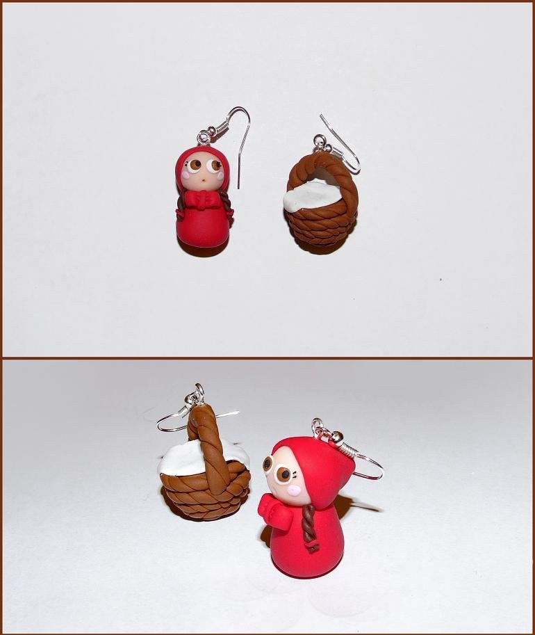 Orecchini pendenti con cappuccetto rosso e cestino in fimo/cernit fatti a mano
