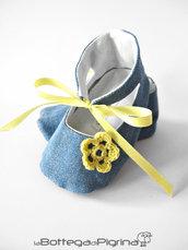 Scarpine per Bebè in Jeans con Fiore