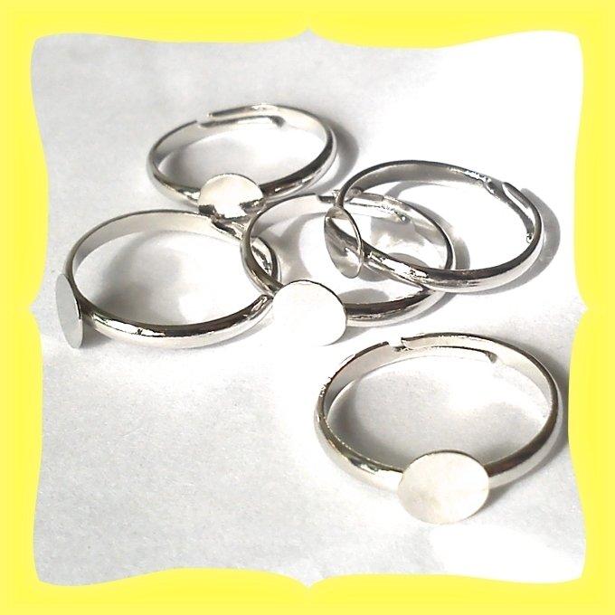 5 basi anello argentate