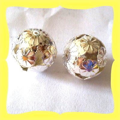 2 perle filigranate 2cm