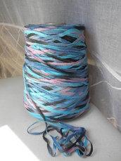 Fettuccia di cotone multicolor,nero,blu,azzurro,rosa,550 gr,materiali,filati