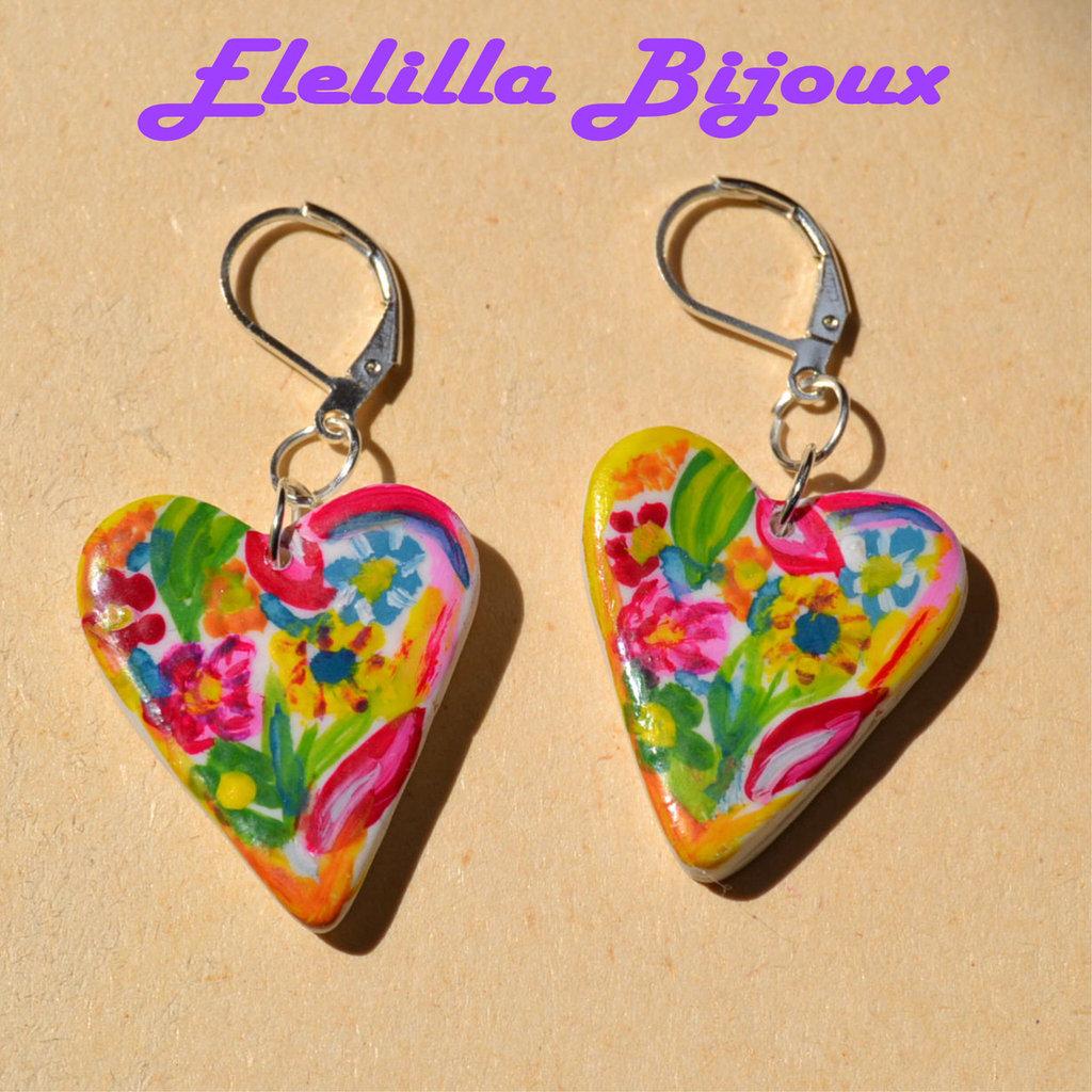 orecchini cuore fiorito