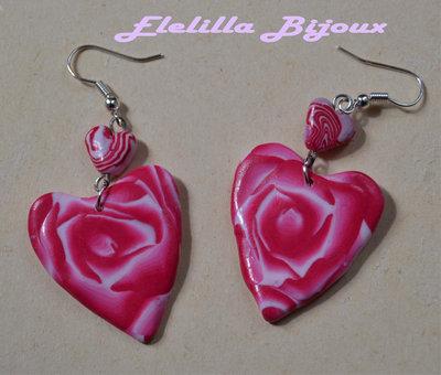 orecchini cuore di rosa