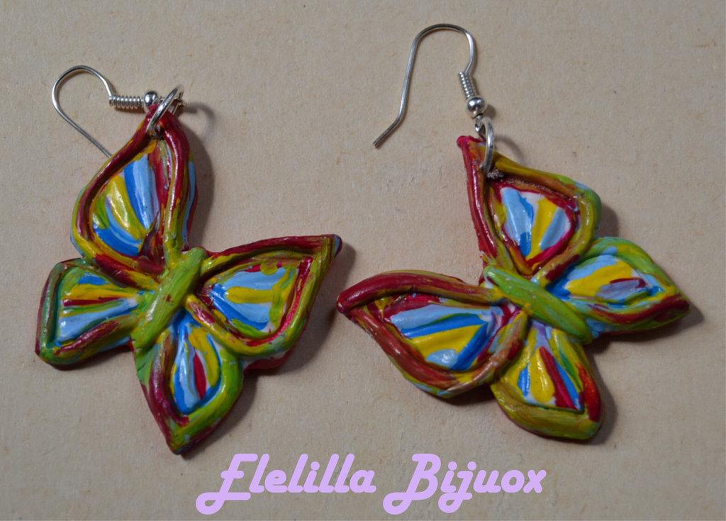 orecchini farfalle dipinte a mano