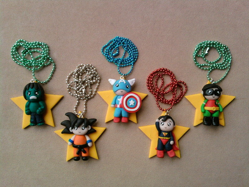 Supereroi su stella - Hulk, Goku, Captain America, Supeman e Robin fimo
