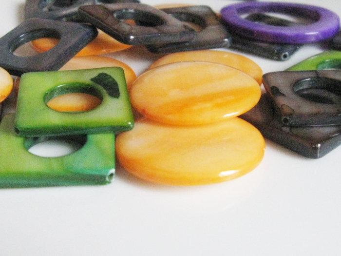 Madreperla verde, arancio, grigio