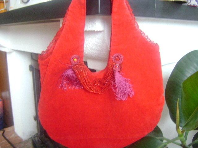 piccola borsa elegante in vellutino rosso