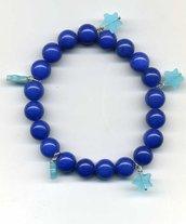 Bracciale elastico in agata blu con stelline turchesi