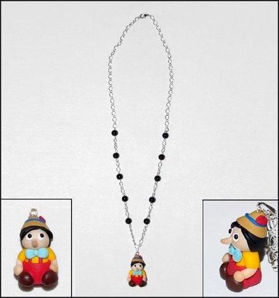 Collana con Pinocchio in fimo/cernit fatti a mano