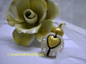 """Collana con ciondolo """"cuore di coccinella"""" in oro fimo fatto a mano"""