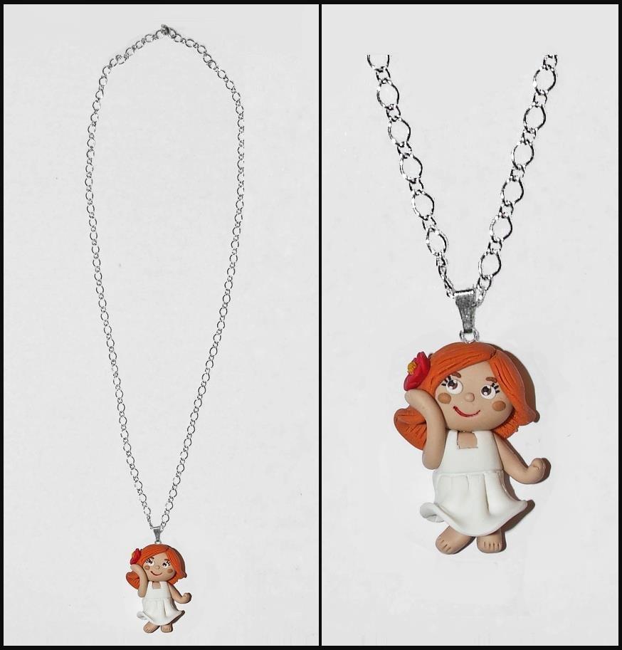 Collana bambolina Flò in fimo /cernit fatta a mano