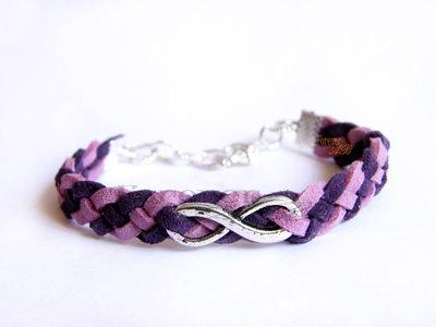 Bracciale intrecciato simbolo 'Infinito' viola lilla idea regalo