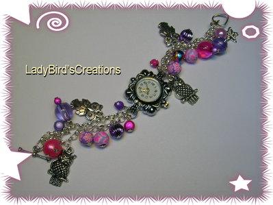 Orologio bracciale con charm pendenti - rosa/viola -
