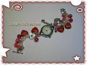 Orologio bracciale con charm pendenti - rosso -
