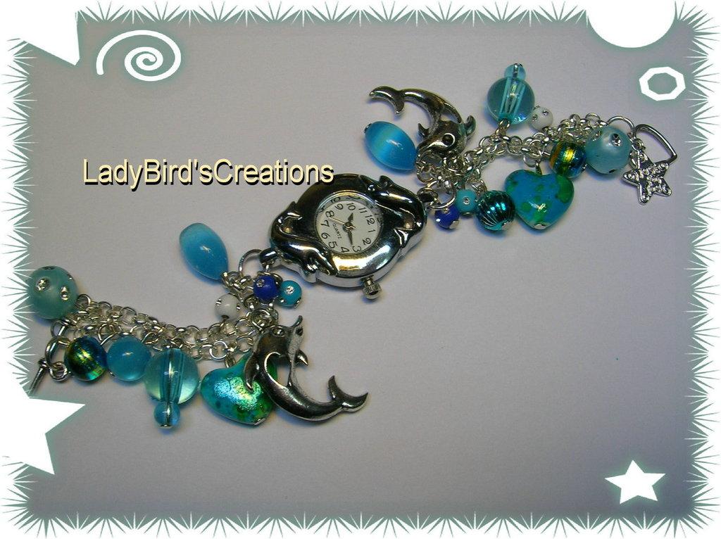 Orologio bracciale con charm pendenti - azzurro -
