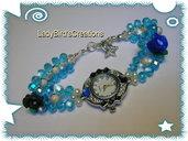 Orologio bracciale intrecciato con cristalli di Boemia - azzurro -