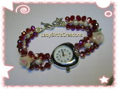 Orologio bracciale intrecciato con cristalli di Boemia - Rosso -