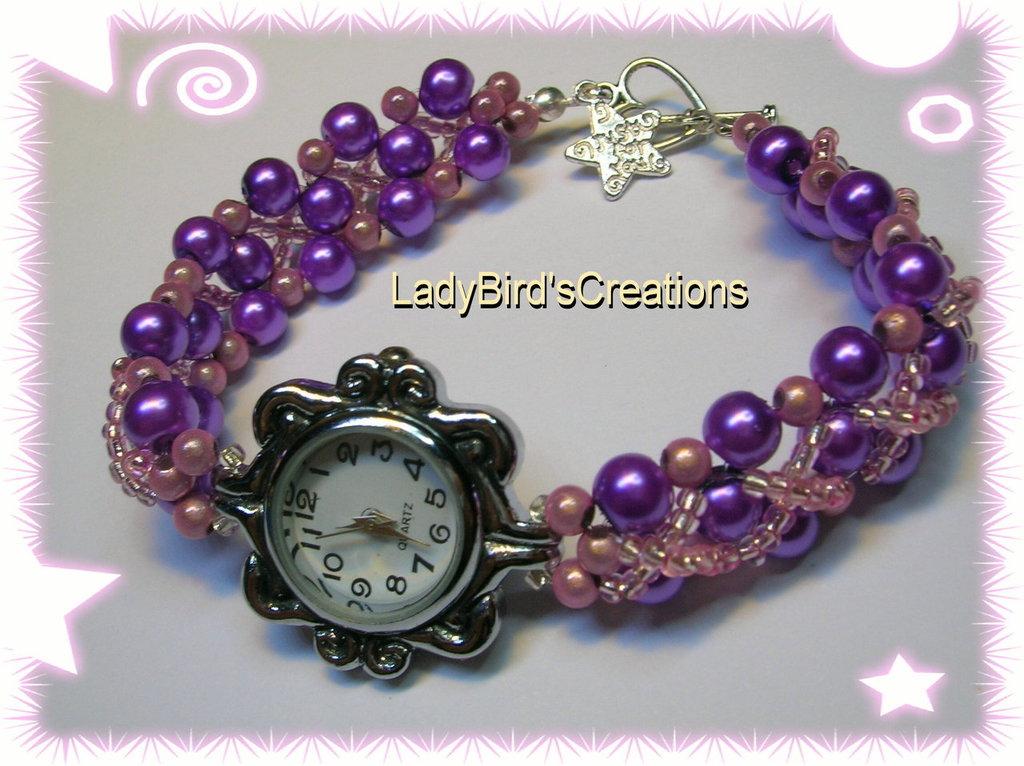 Orologio bracciale intrecciato con perle in vetro