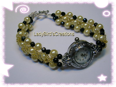Orologio bracciale intrecciato con perle in vetro - Avorio/Nero -