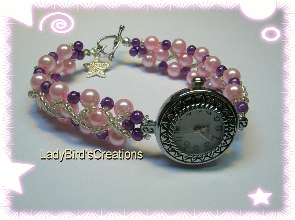 Orologio bracciale intrecciato con perle in vetro - Rosa -