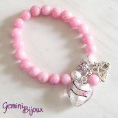 Bracciale elastico Pink Jade