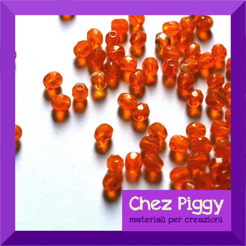 25 x perle sfaccettate ARANCIONE