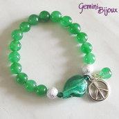 Bracciale elastico Green Jade