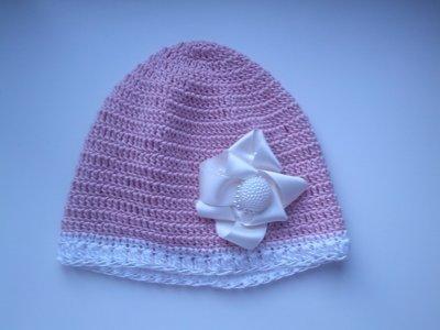 Cappello Rosa in Cottone Fatto ad Uncinetto con Fioco di Raso