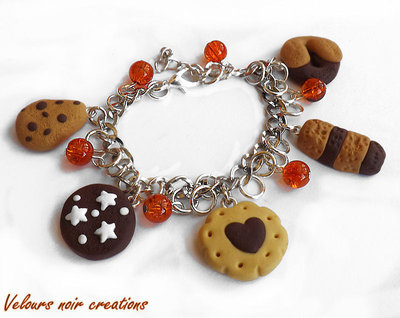 bracciale biscotti pan di stelle abbracci in fimo