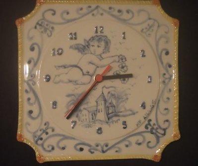 OROLOGIO DA PARETE CERAMICA ALBISOLA SAVONA PUTTO clock