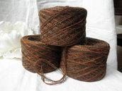 Filato marrone melange,misto lana,150gr,filato,materiali