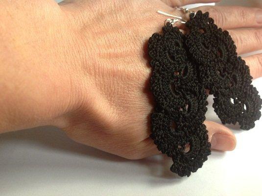 Orecchini uncinetto artigianali in  puro cotone