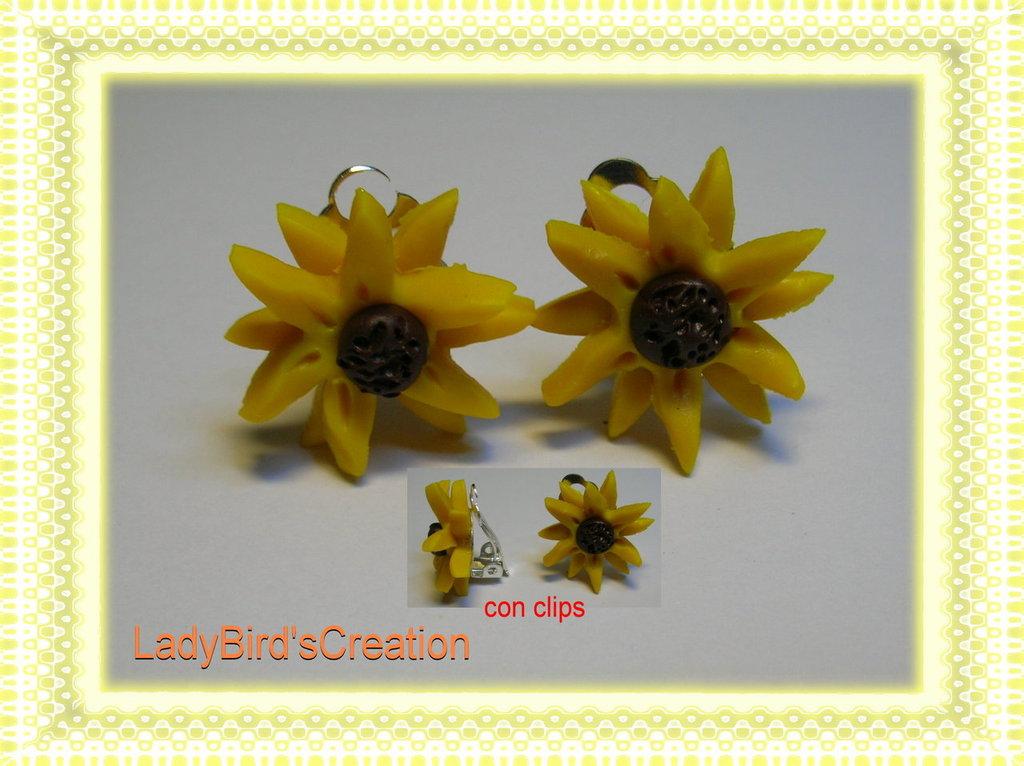 Orecchini con clips in FIMO - Girasole