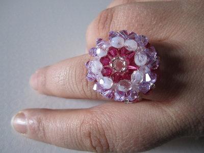 14 anello antico swarovski tonalità rosa