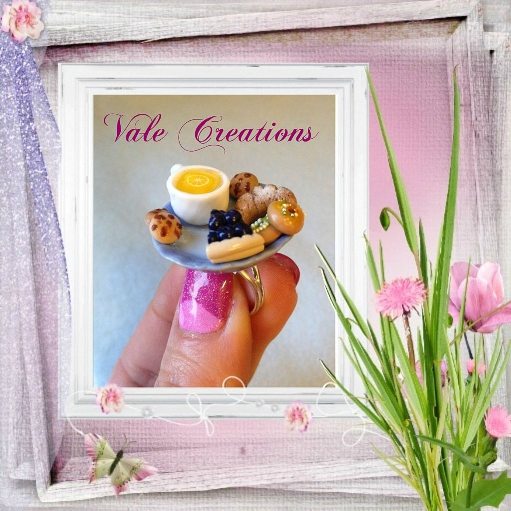 "Anello miniature in fimo ""Tea Time"""