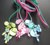 Collana con pendente in madreperla e farfalle - HappySpring^^ - handmade