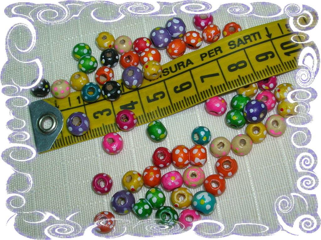 50 Perline in legno colorate, in mix, con graziosi fiorellini dipinti