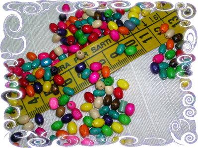 100 Perline ovaline in legno, vari colori, mix colori, 8x5 mm